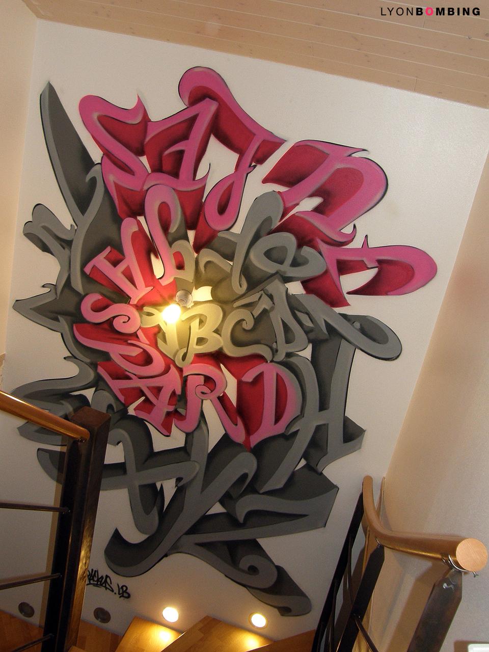 Descente d\'escalier graffiti - Décoration particulier - LYONBOMBING