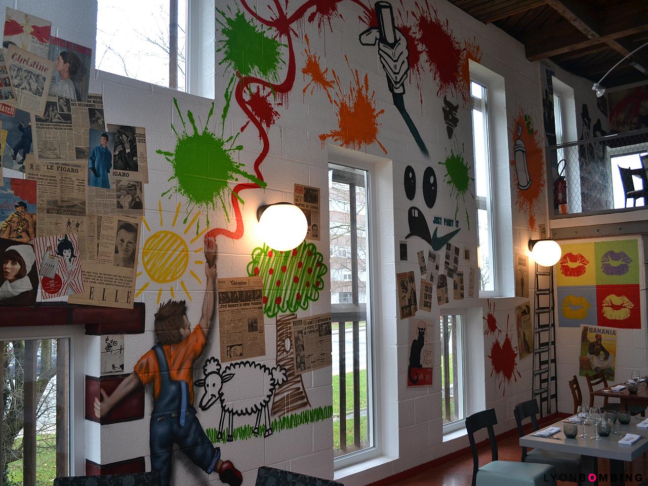 Street art au restaurant intérieur lyonbombing
