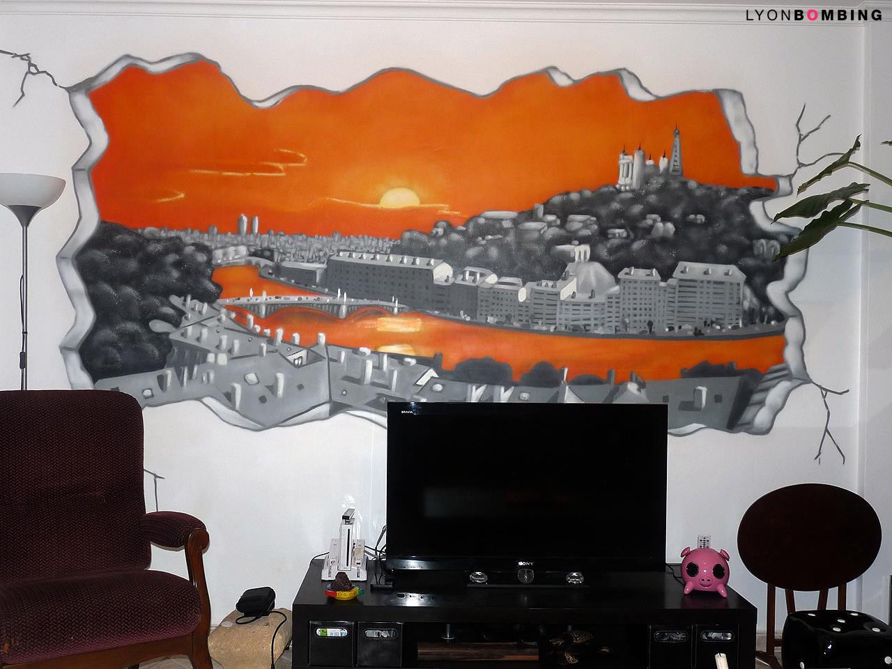 Fresque murale vue de Lyon