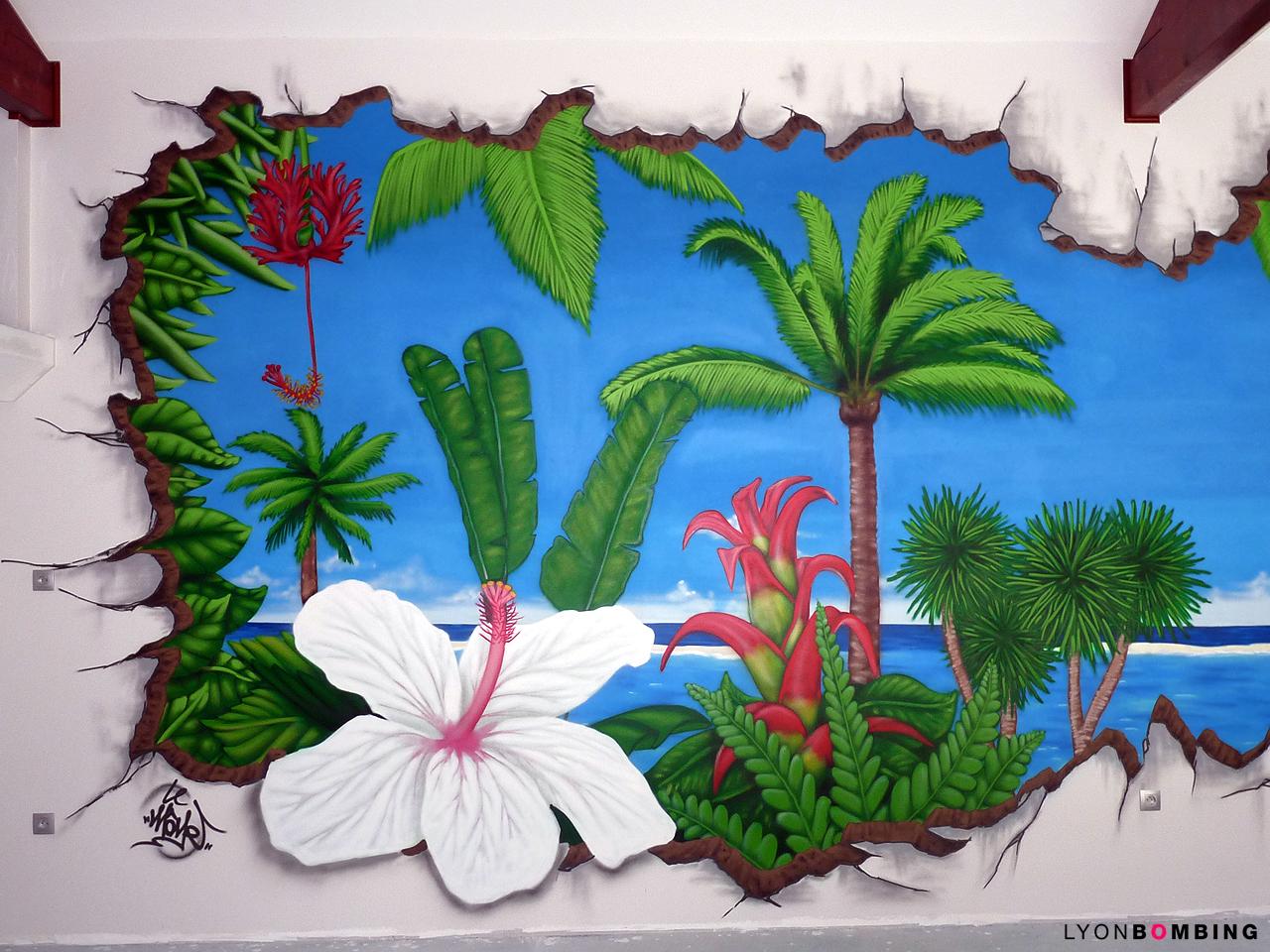 Trompe l'oeil plantes exotiques