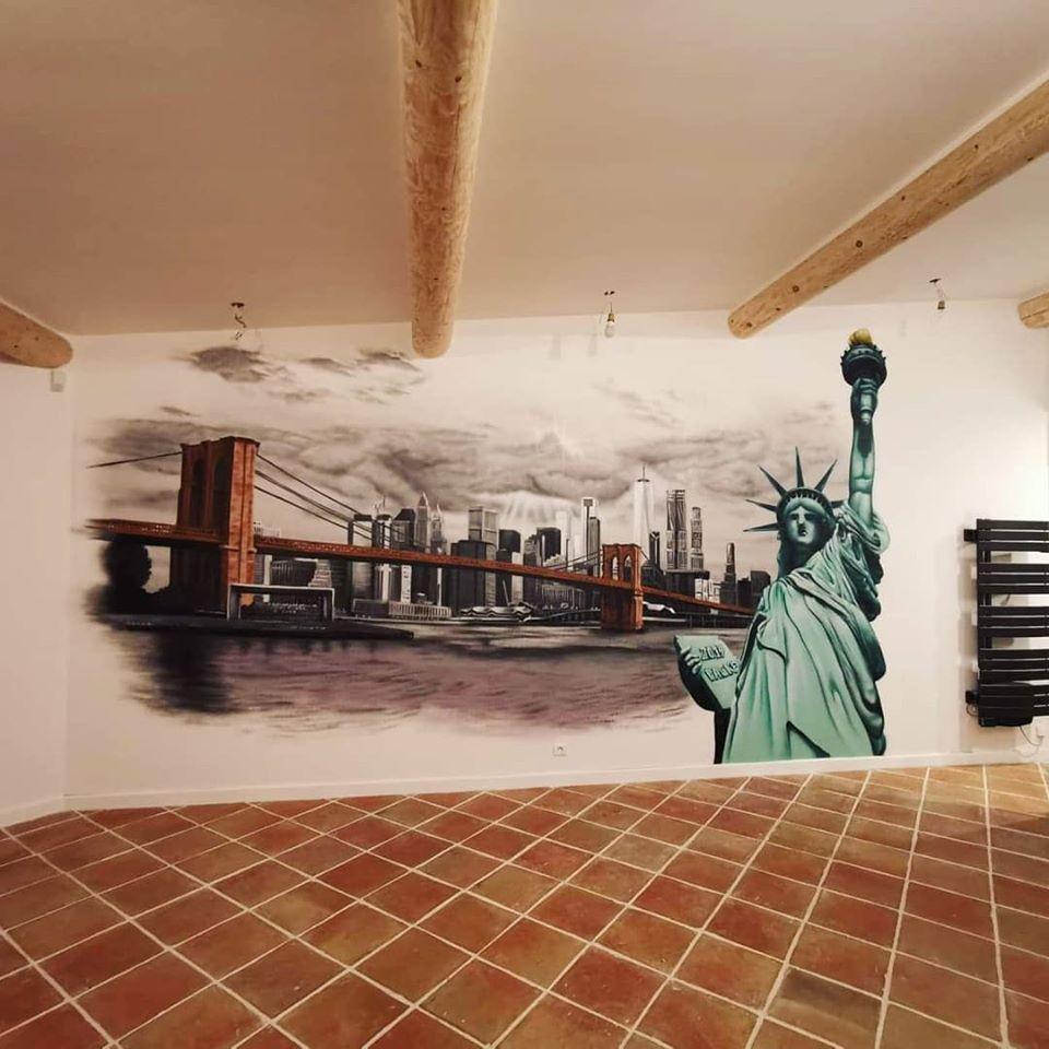 decoration graffiti sur le thème de newyork